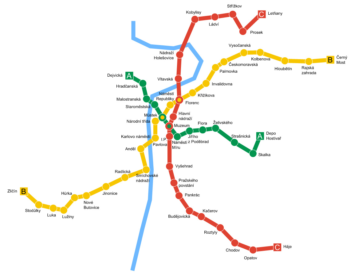 Схема пражского метро (автор Zirland)