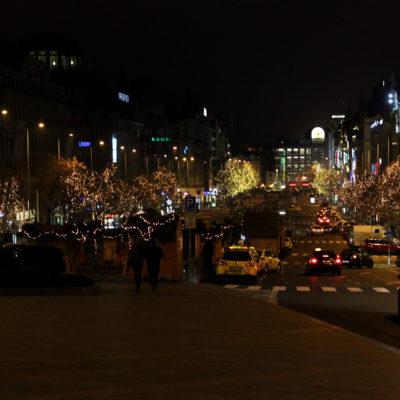 Вацлавская площадь ночью